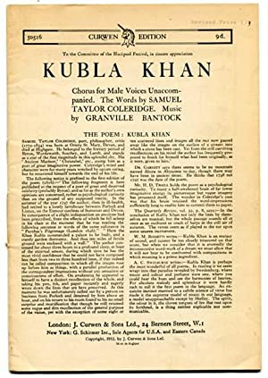 Kubla Khan: Chorus for Male Voices Unaccompanied: Bantock, Granville (Words