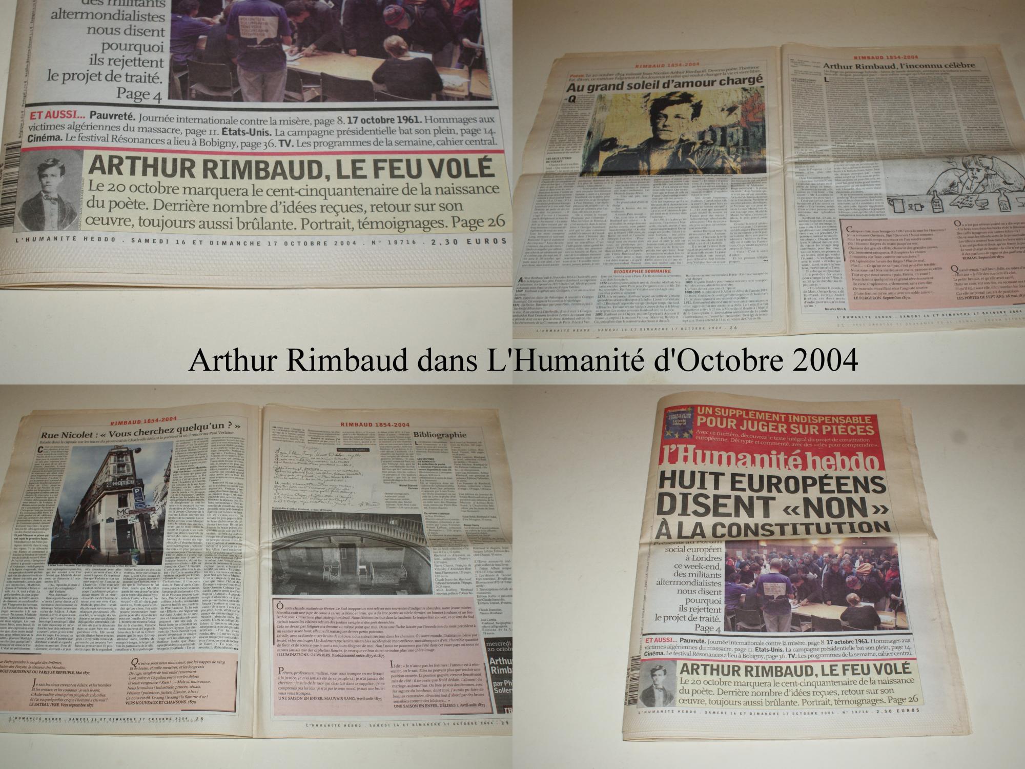 Arthur Rimbaud Dans Lhumanité Hebdo N