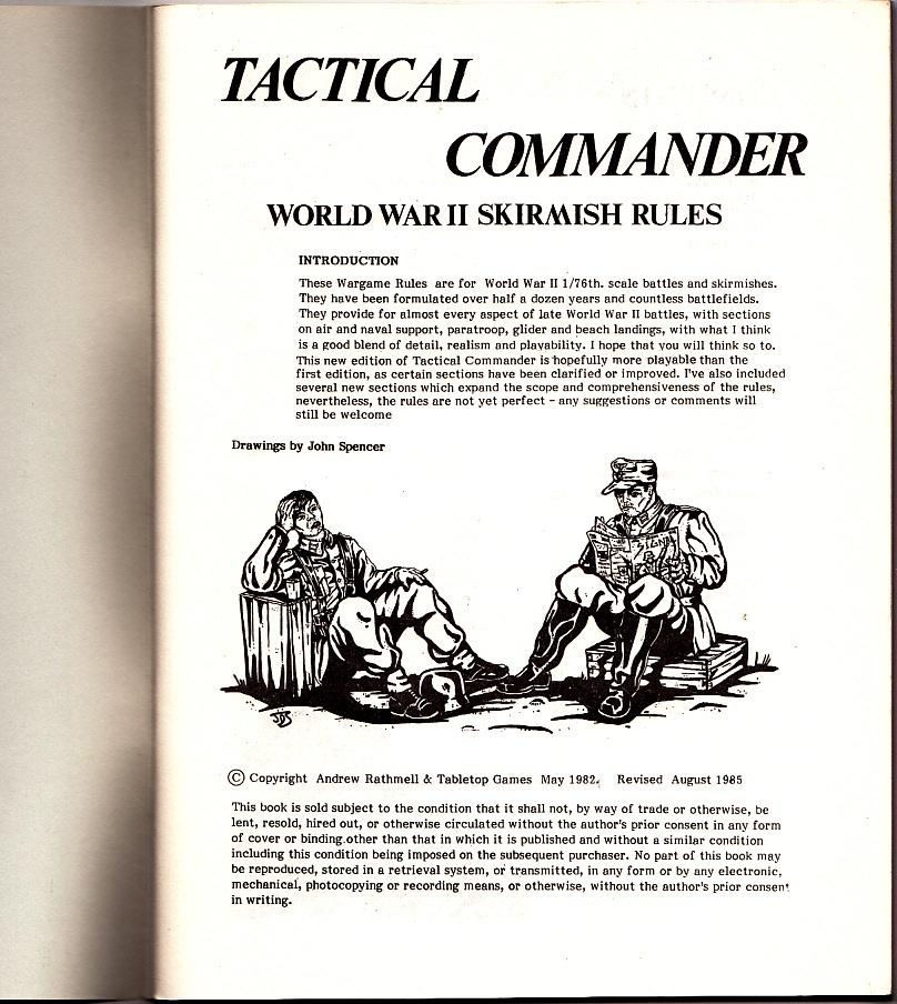TACTICAL COMMANDER: RULES FOR WORLD WAR II