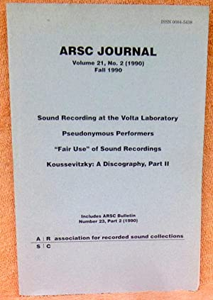 ARSC Journal Volume 21 No. 2 Fall: Multiple Contributors