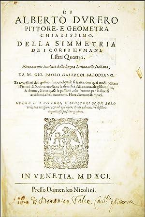 Di Alberto Durero [.] Della simmetria de: Dürer, Albrecht