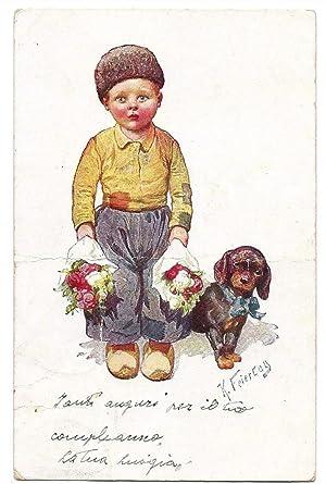 Bambino con due mazzi di fiori in mano e cane. Illustratori  Feiertag. 7db8ab645ee7