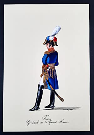 General de la Grand Armee - Uniformi francesi - Tempera di Tino Vescovo - 1975.