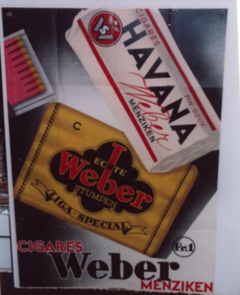 Weber Cigars & Tobacco; KUHN, Charles: Very Good 128 x 90cms; folds (a little wear to folds); (with PICTURE)