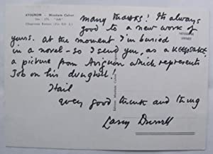inscribed postcard to Hugo Manning;: DURRELL, Lawrence: