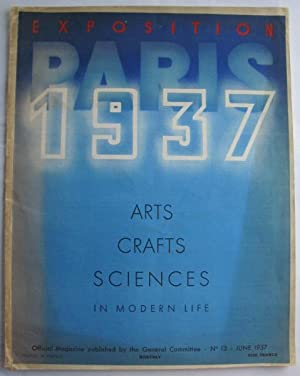 Exposition Paris 1937 Arts Crafts Science in Modern Life no.13;