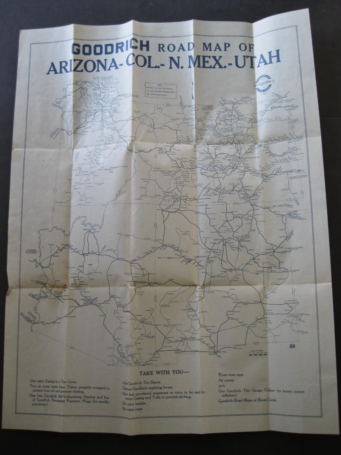 Road Map Of Arizona And New Mexico.Goodrich Road Map Of Arizona Colorado New Mexico Utah 1918 By