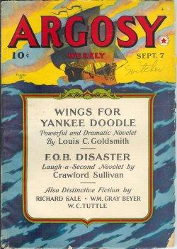 "ARGOSY Weekly: September, Sept. 7, 1940 (""Minions of Mercury""): Argosy (Louis C. Goldsmith;..."