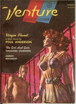 """VENTURE Science Fiction: January, Jan. 1957 (""""Virgin Planet""""): Venture (Poul Anderson; ..."""