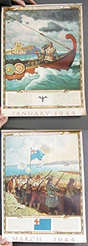 FLAGS IN AMERICA'S HISTORY A Complete 1944 Art Calendar. (Not a Book)