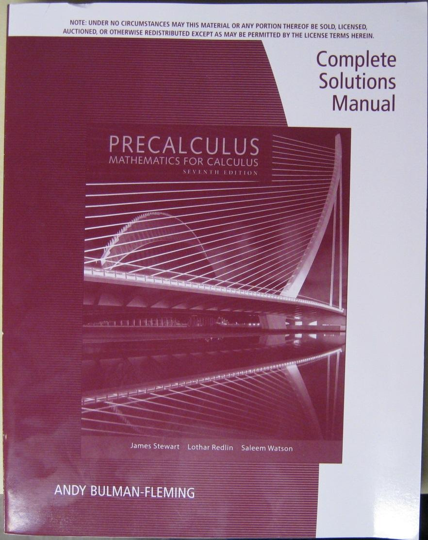 precalculus complete solutions manual abebooks rh abebooks com