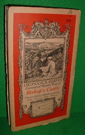 ORDNANCE SURVEY CONTOURED ROAD MAP OF BISHOP'S CASTLE POPULAR EDITION , MOUNTED IN SECTIONS