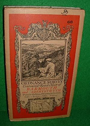 ORDNANCE SURVEY CONTOURED ROAD MAP OF BARMOUTH AND ABERYSTWYTH POPULAR EDITION MOUNTED IN SECTIONS