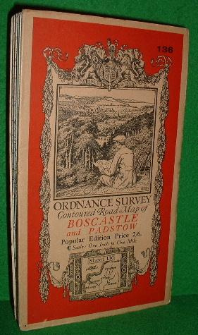 ORDNANCE SURVEY CONTOURED ROAD MAP OF BOSCASTLE AND PADSTOW