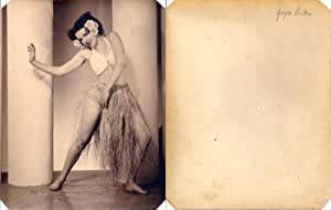 Joyce Linton dancing in grass skirt (Original showgirl photograph, circa 1940s)