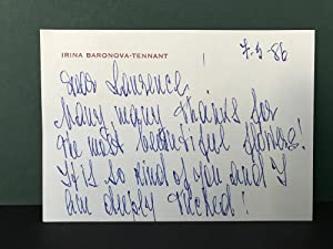 Original Handwritten Card from Irina Baronova-Tennant to Laurence Rentoul [Signed]