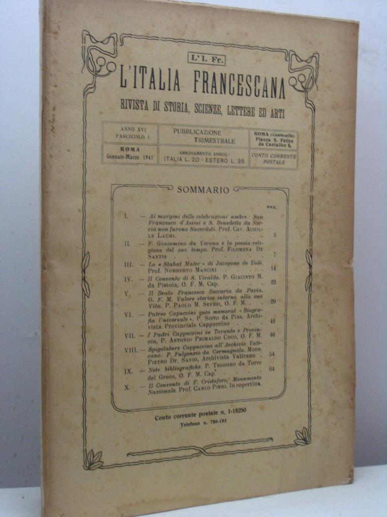 L\'Italia Francescana. Rivista di storia, scienze, lettere ed arti ...