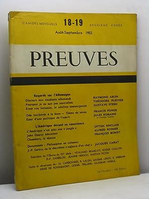 Preuves. Cahiers mensuel, deuxième année, n. 18-19, aout-septembre 1952: AA.VV.