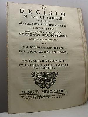 Decisio M. Pauli Costae in causa appellationis,: Costa Paulus