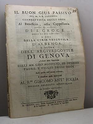 Il buon gius passivo del M., e: Bacigalupo Jacopo Gregorio