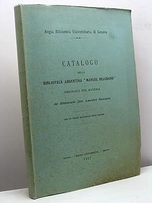 Catalogo della biblioteca argentina 'Manuel Belgrano' ordinato per materia dal ...