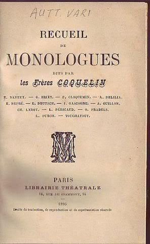 Recueil de monologues dits per les frères Coquelin: AA.VV.