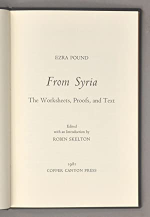 FROM SYRIA: THE WORKSHEETS, PROOFS, AND TEXT