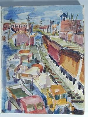 1955 SKETCHBOOK WITH 90 ORIGINAL DRAWINGS, PAINTINGS, WATERCOLORS: HOOGENDYK, Marianna van Rossen