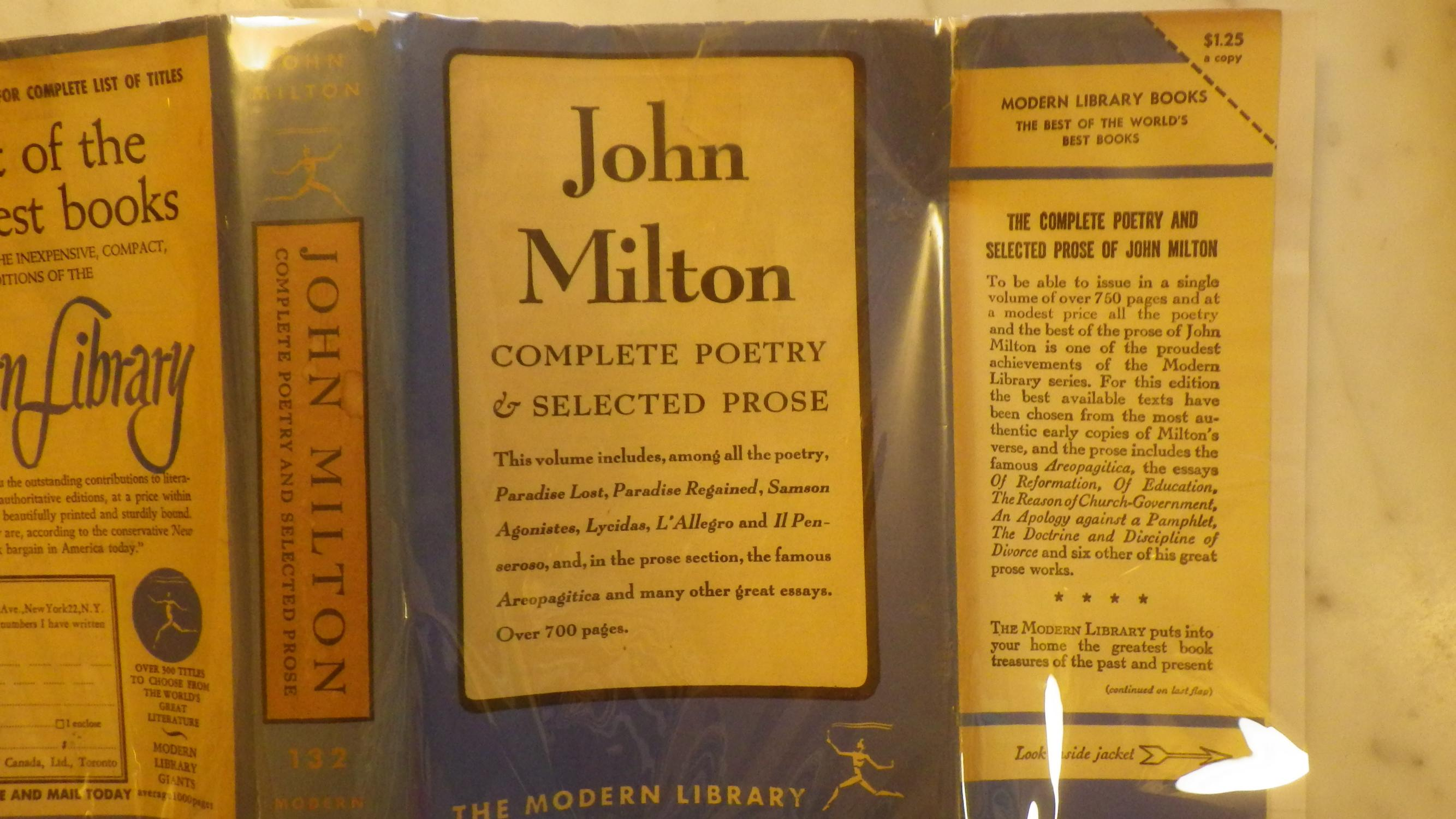 Complete Poetry Selected Prose John Milton, First Edition