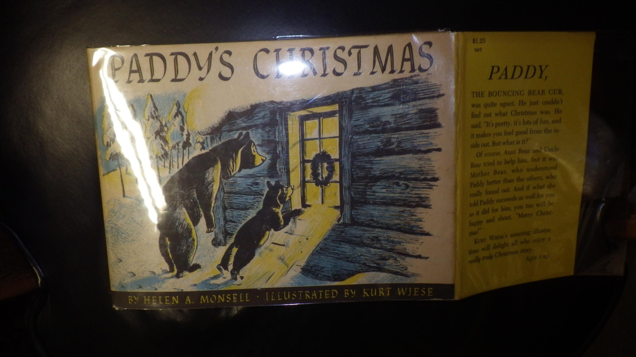 PADDY'S CHRISTMAS , in Blue, Yellow B/W Dustjacket of Mama Bear & Baby Bear Cub ...