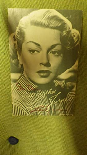 Small Signed Card by Lana Turner with: Small Signed &