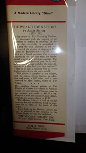 The Wealth of Nations, G32, 1937, STATED 1ST Modern Library Edition on Copyright pg, With the ...