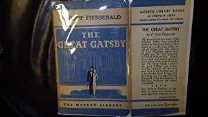 The Great Gatsby by F. Scott Fitzgerald.with blue & White DJ with man in top hat & cane &...
