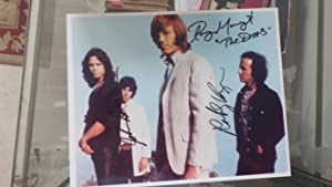 SIGNED Color Oblong Photograph of All 4: Ray Manzarek, Robbie