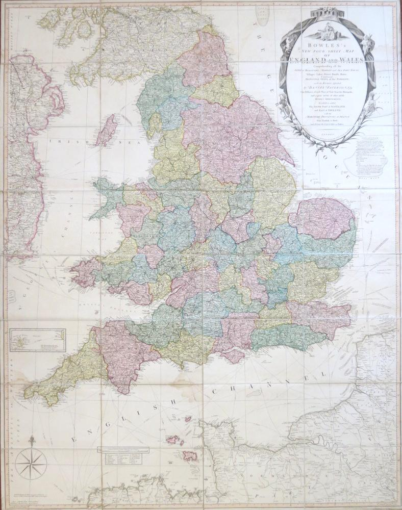 Map Of England Villages.Bowles S New Four Sheet Map Of England And