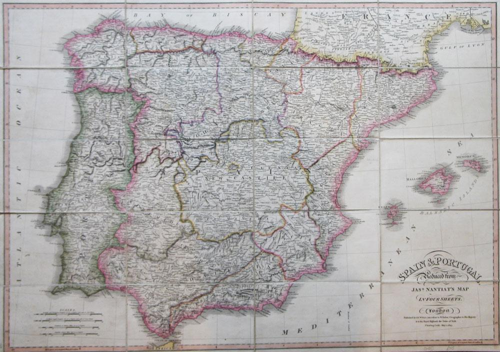 Spain & Portugal, Reduced from Jasr. Nantiat's Map in Four Sheets: WYLD, (James) [after] ...