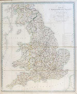 New and Improved Map of England and Wales, Including the Principal Part of Scotland whereon are C...