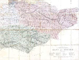 Bacon's Map of the Watering Places of Kent and Sussex. Including Tunbridge Wells, Maidstone, Cant...