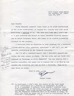 Bloch, Robert - Autograph: Robert Bloch (American