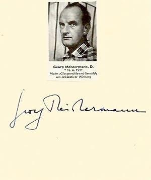 Meistermann, Georg - Autograph: Georg Meistermann (German