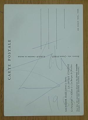 Signed Postcard illustrating Dante's Divine Comedy by: Salvador Dali; Dante