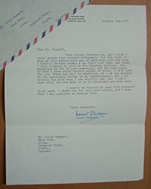 A Signed Letter from Lovat Dickson discussing: Lovat Dickson