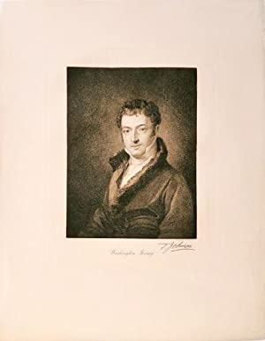 Engraved portrait of Washington Irving by Thomas Johnson after the portrait of Irving by Charles ...