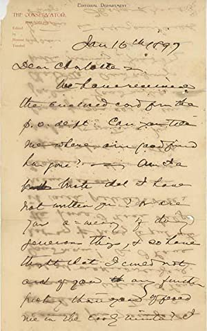 Two holograph letters and one note, signed and dated January 16, 1897, February 4, 1897 and Janua...