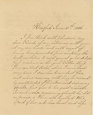 Holograph letter signed and dated Hartford, June 10, 1846, to Joseph John Gurney of Norwich, England