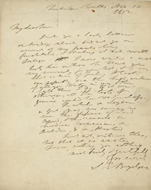 Holograph note signed and dated Tunbridge Wells Nov. 10, 1812, to poet and writer Robert Pearse G...