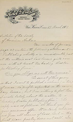Autograph letter signed, dated New Haven, 25 March, 1901, to the Bulletin of the Society of Ameri...