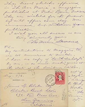 Holograph letter, signed and dated October 7, 1907, Monterey, California, to San Francisco bookse...