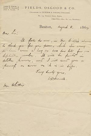 Original holograph note signed and dated Boston, August 6, 1869, to John Greenleaf Whittier