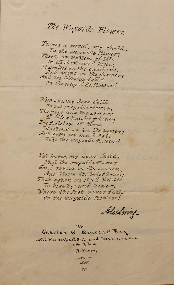 Autograph letter and poem signed